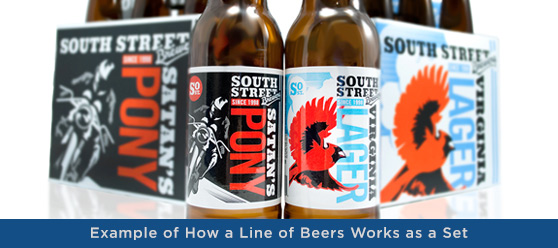 beer label design line within a brand
