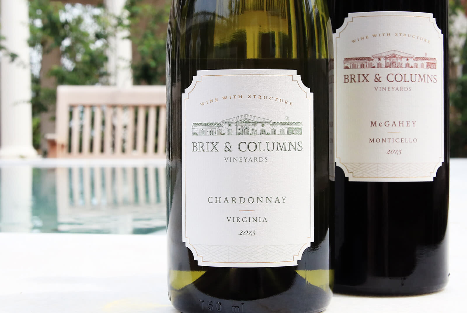 Image of wine label design for Brix and Columns