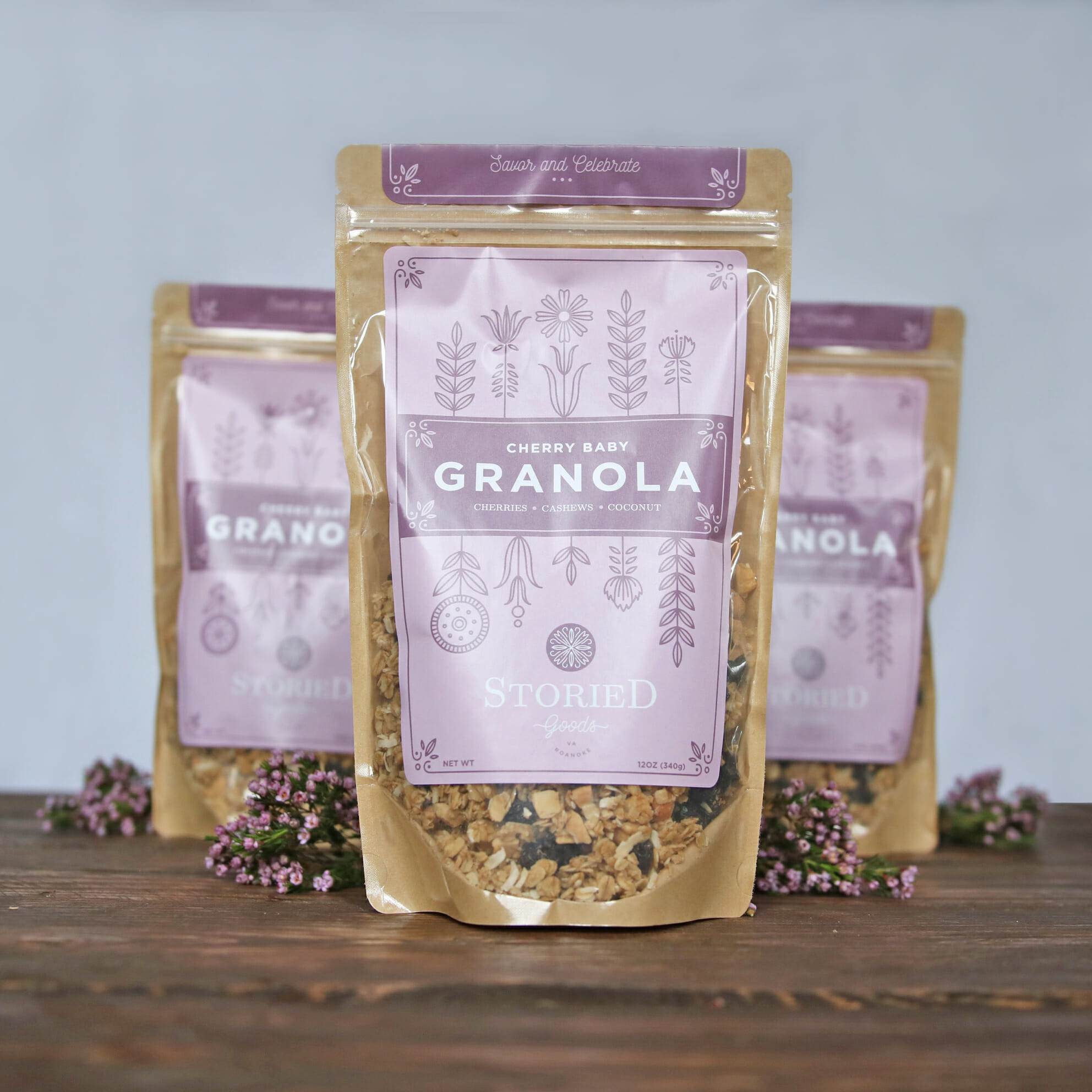 storied goods granola package design