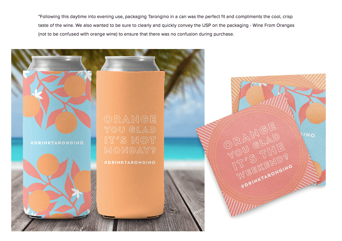 Image of Tarongino canned wine from oranges The Dieline feature